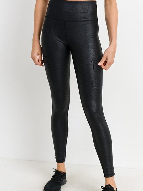 Black Triple Zippered Foil Yoga Pants