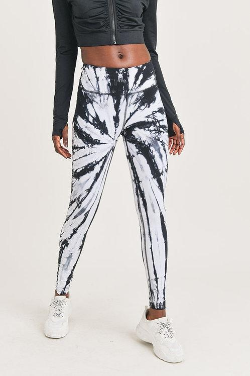 Black and White Tie-Dye Leggings