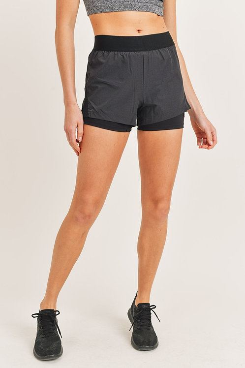 Two Toned Shorts with Pocket