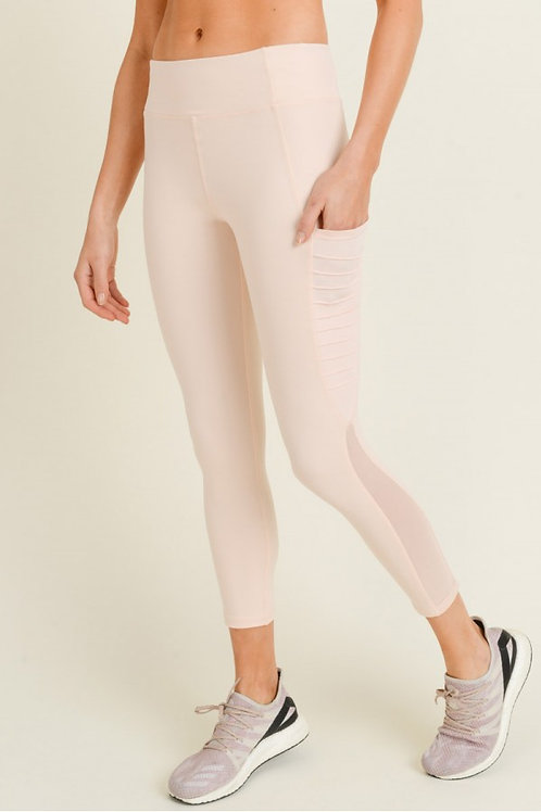 Ribbed Mesh Pocket Leggings