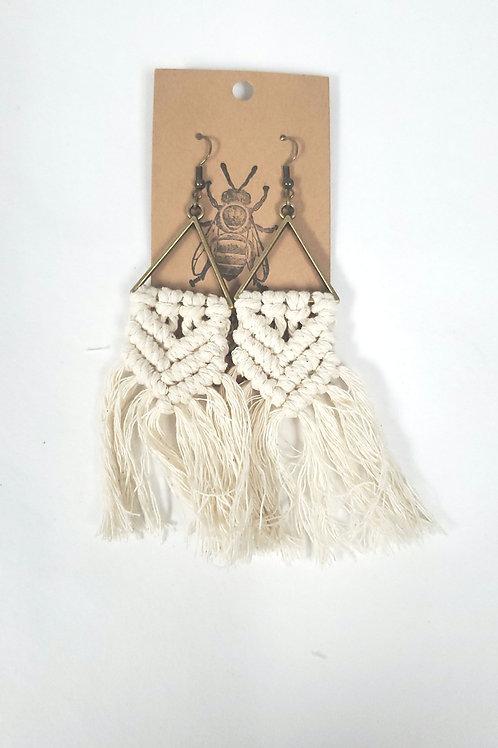 Handmade Macrame Triangle Earrings