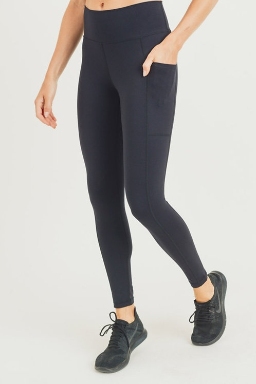 Solid Black Leggings with Pocket