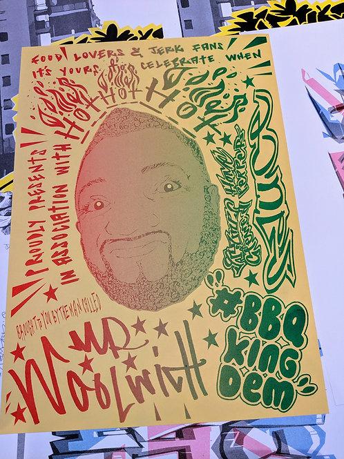 BBQ King Dem A3 risograph print