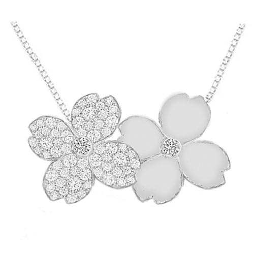 Gienah Twin Blossom Pendant with Box Chain
