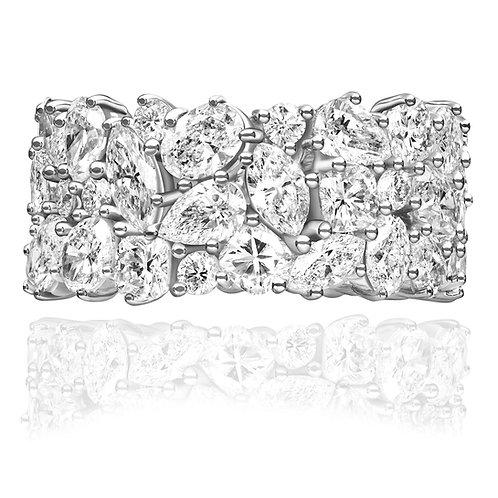 2.85 carat Multi-Shape Moissanite Cluster Semi-Eternity Wedding Band