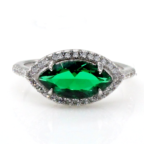 1 carat Halo Set East West Marquise Cut Green Moissanite Engagement Ring