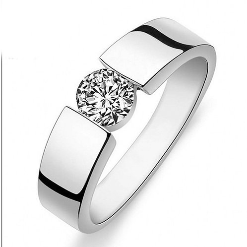 1.55 carat Round Brilliant Cut Moissanite Tension Set Men's Wedding Ring