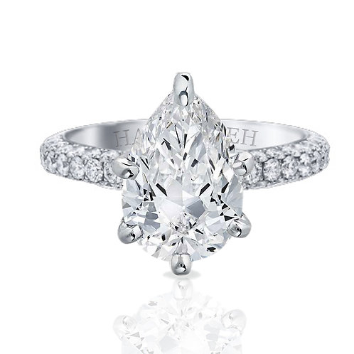 3.15ct Triple Row Pave Set Moissanite Solitaire Engagement Ring