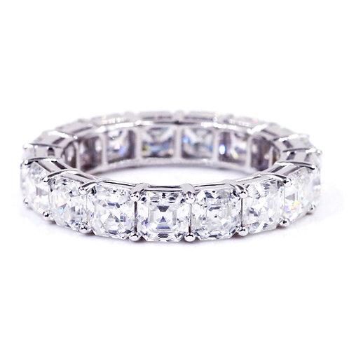 4.10 carat Asscher Cut Moissanite Eternity Wedding Band in Solid 14k White Gold