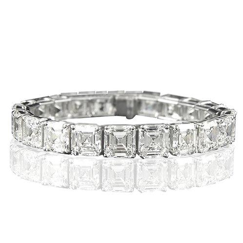 25 carat Diamond Equivalent Weight Asscher Cut Tennis Bracelet in 14k White Gold