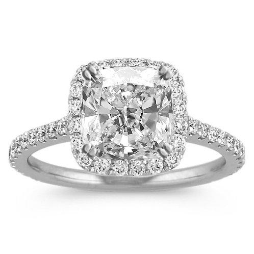 3.28 carat Cushion Cut Moissanite Single Halo Engagement Ring