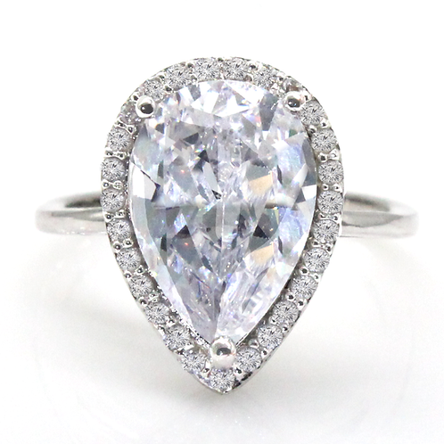 Pear Cut Halo Set Solitaire Moissanite Engagement Ring Sample