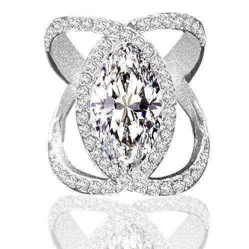 5.75carat DEW Marquise Moissanite Pave Set Orbit Statement Ring