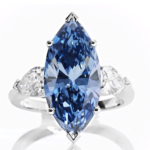 Blue Marquise Moissanite Diamond