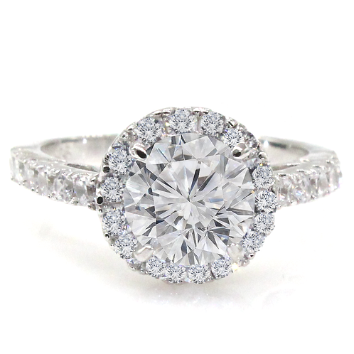 Round Brilliant Cut Moissanite Engagement Ring with Micropave Halo Sample