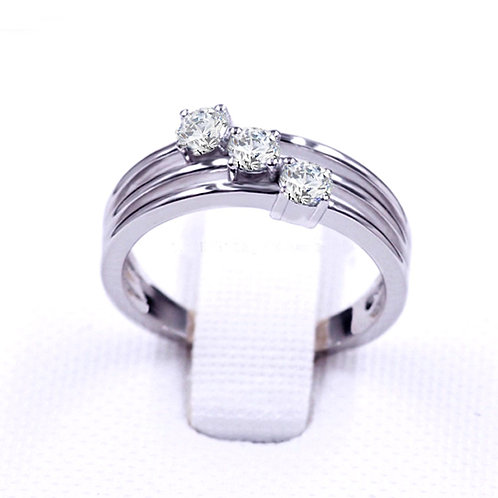 0.75ct DEW Round Brilliant Cut Stacked Moissanite Ring