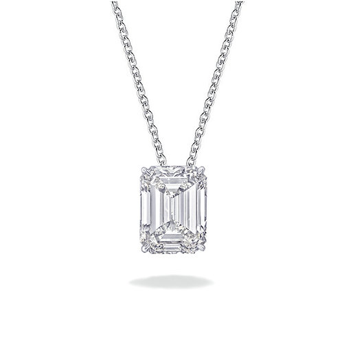 2 carat  Solitaire Emerald Cut Moissanite Pendant with Adjustable Chain