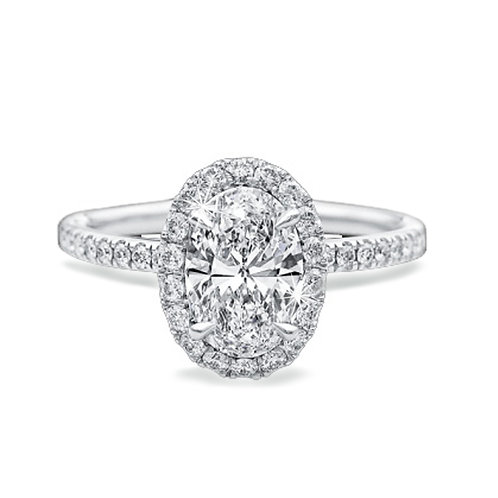 4.56ct DEW Crushed Ice Oval Cut Halo Moissanite Engagement Ring