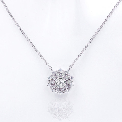 1.66ct DEW Moissanite Marigold Pendant  in .925 Solid Sterling Silver