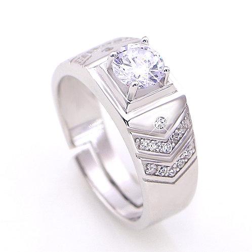 3.28 carat Accented Round Brilliant Cut Moissanite Men's Wedding Ring