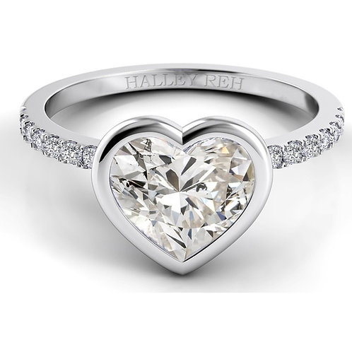 1.62ct  Bezel Set Moissanite Engagement ring with Single Pave  Band
