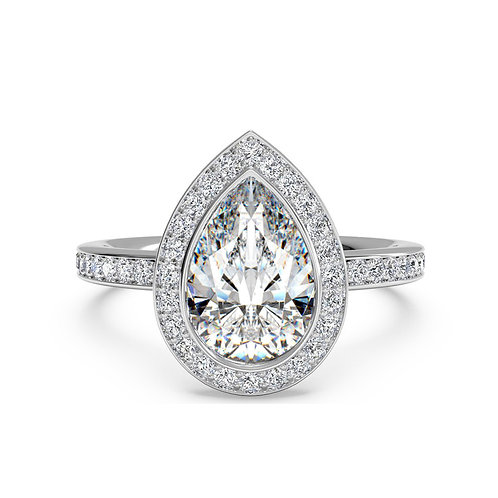 4.51 carat Crushed Ice Pear Cut Halo Set Moissanite Engagement Ring