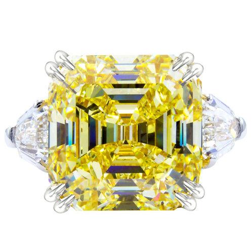 3.13ct DEW Asscher Cut Moissanite Ring with Trillion Cut Accent Stones