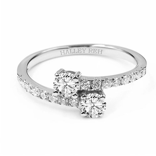1.25ct DEW Round Brilliant Cut Encrusted Shank Twisted Moissanite Ring