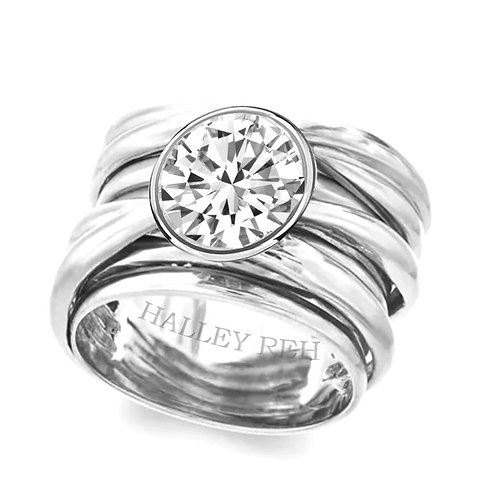 14k Solid White Gold Engagement Ring