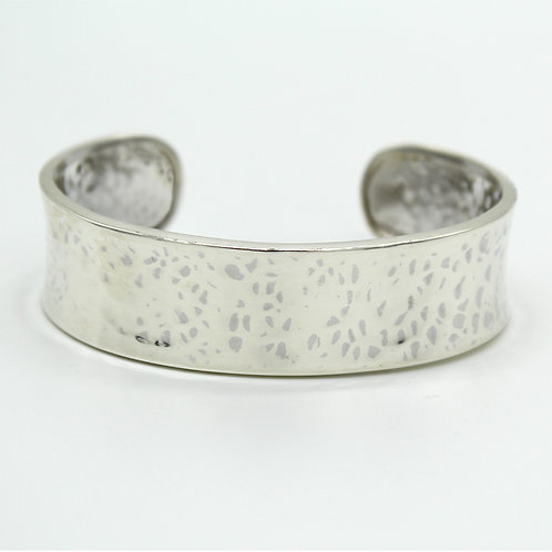 Narrow Open Cuff Hammered Texture Bangle Bracelet in .925 Solid Sterling Silver