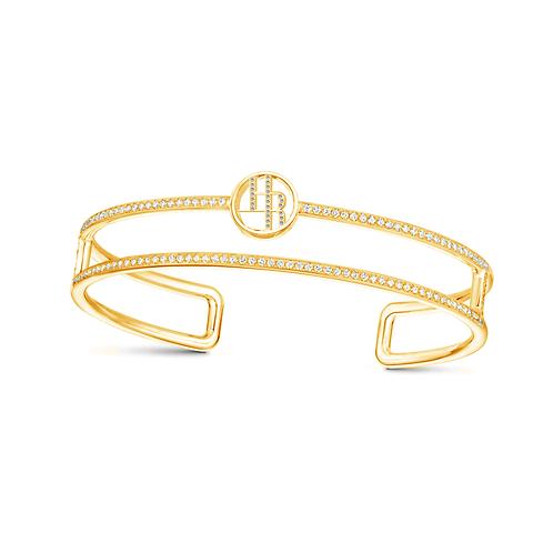 Halley Reh Monogram Double Band Moissanite Bangle Bracelet