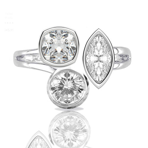 Over 3 carat DEW Bezel Set, Modern Three-stone Moissanite Engagement Ring