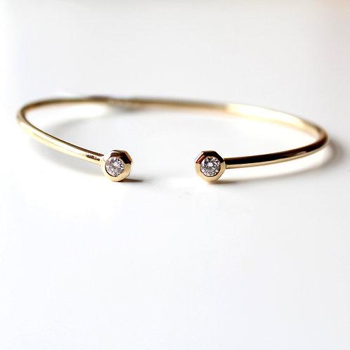 Open Cuff Bangle Bracelet 0.54ct round natural diamond set in 14k Yellow Gold