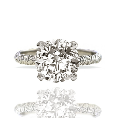 2ct Vintage Etched Band  Solitaire Moissanite Engagement Ring