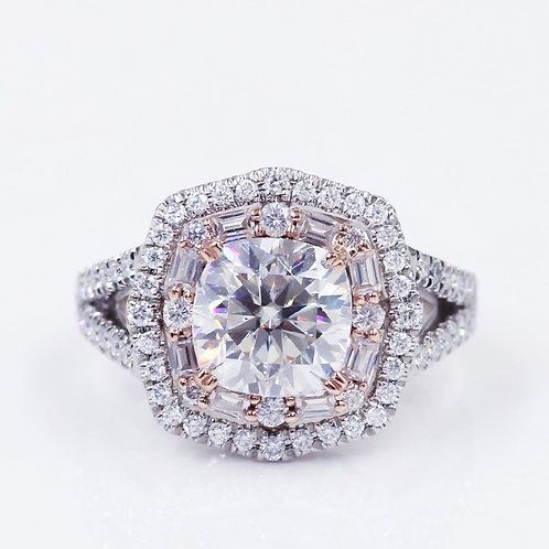 5.15ct Two-tone Double Halo Cushion Cut Moissanite Engagement Ring