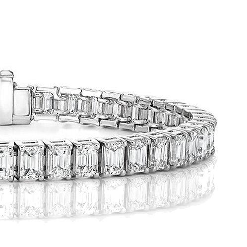 25 carat Emerald Cut Moissanite Tennis Bracelet in Solid 14k White Gold