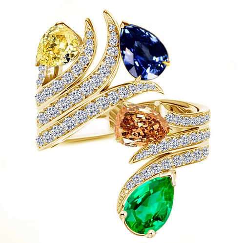 Gale Peacock  Moissanite Statement Ring with Pear cut Center Stones