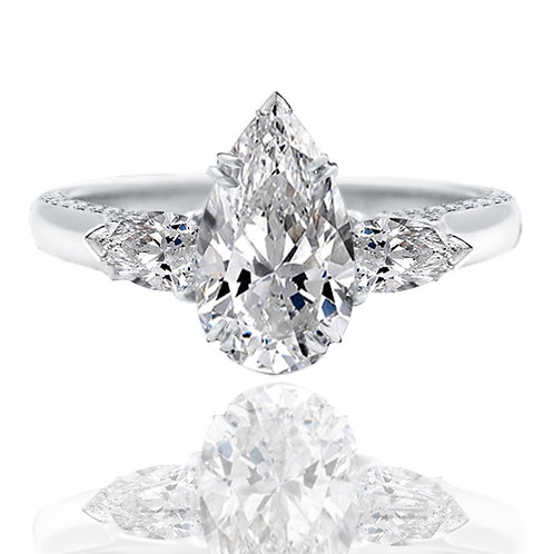 3.63ct  Pear Cut Moissanite Engagement Ring