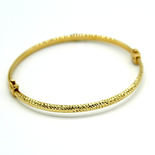 14k Solid Yellow Gold Rope Textured Bangle Bracelet