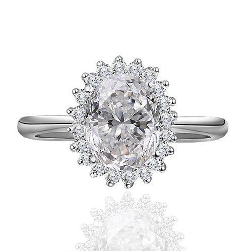 5.60 carat Oval Crushed Ice Cut Moissanite Halo Engagement Ring
