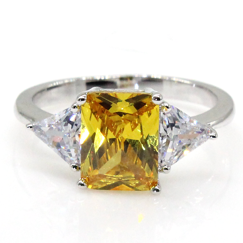 1-carat Yellow Radiant Cut with Trillion Side Stones Moissanite Engagement Ring