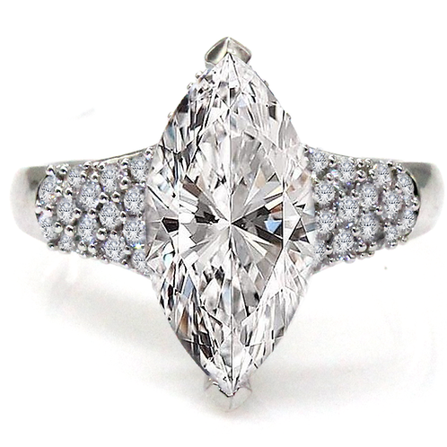 Marquise Cut Moissanite Ring with Micropave Accent Stones Sample
