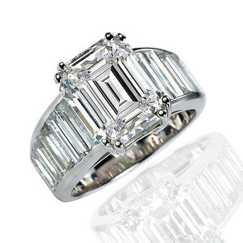 22.35ct Emerald Cut Multi-Stone Moissanite Engagement Ring