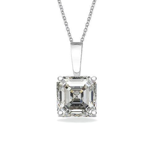 Solitaire Diamond Moissanite Asscher Cut Pendant