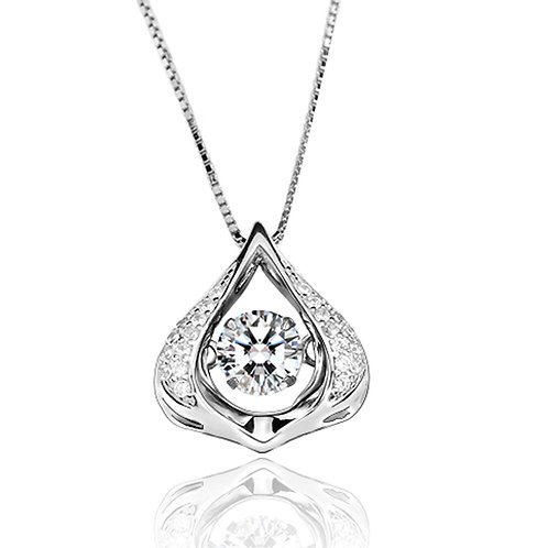 0.80ct DEW Moissanite Dew Drop Pendant Set in .925 Solid Sterling Silver