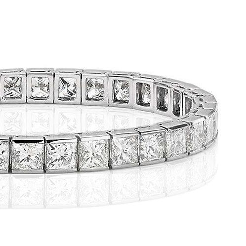 25 carat Halley Reh Princess Cut Moissanite Tennis Bracelet in 14k White Gold
