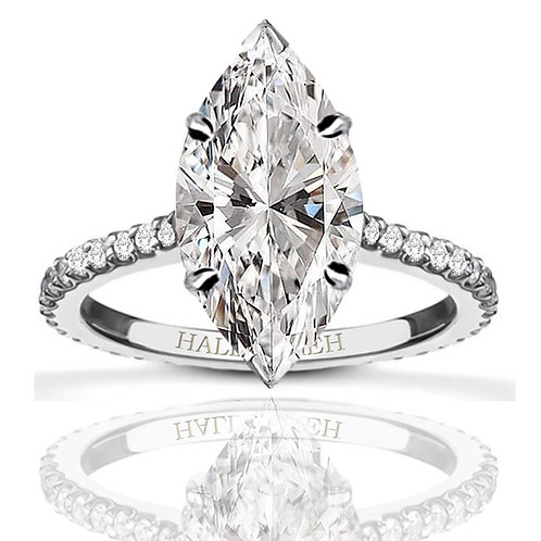 6.15ct Crushed Ice Cut Marquise Solitaire Moissanite Engagement Ring