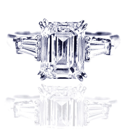 4.05 Emerald Cut Moissanite Engagement Ring with Tapered Baguette Side Stones