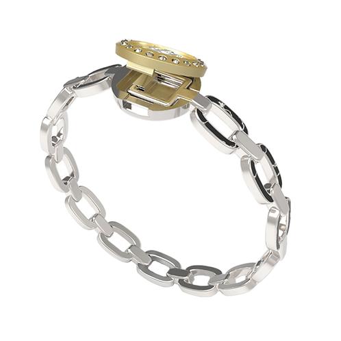 HR Monogram Chain Link Moissanite Charm Bracelet