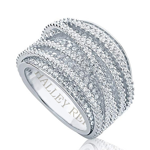 Micro Pave Set Wrap Around Moissanite Engagement Ring